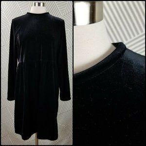 TALBOTS Black Velvet Dress Round Neck large petite